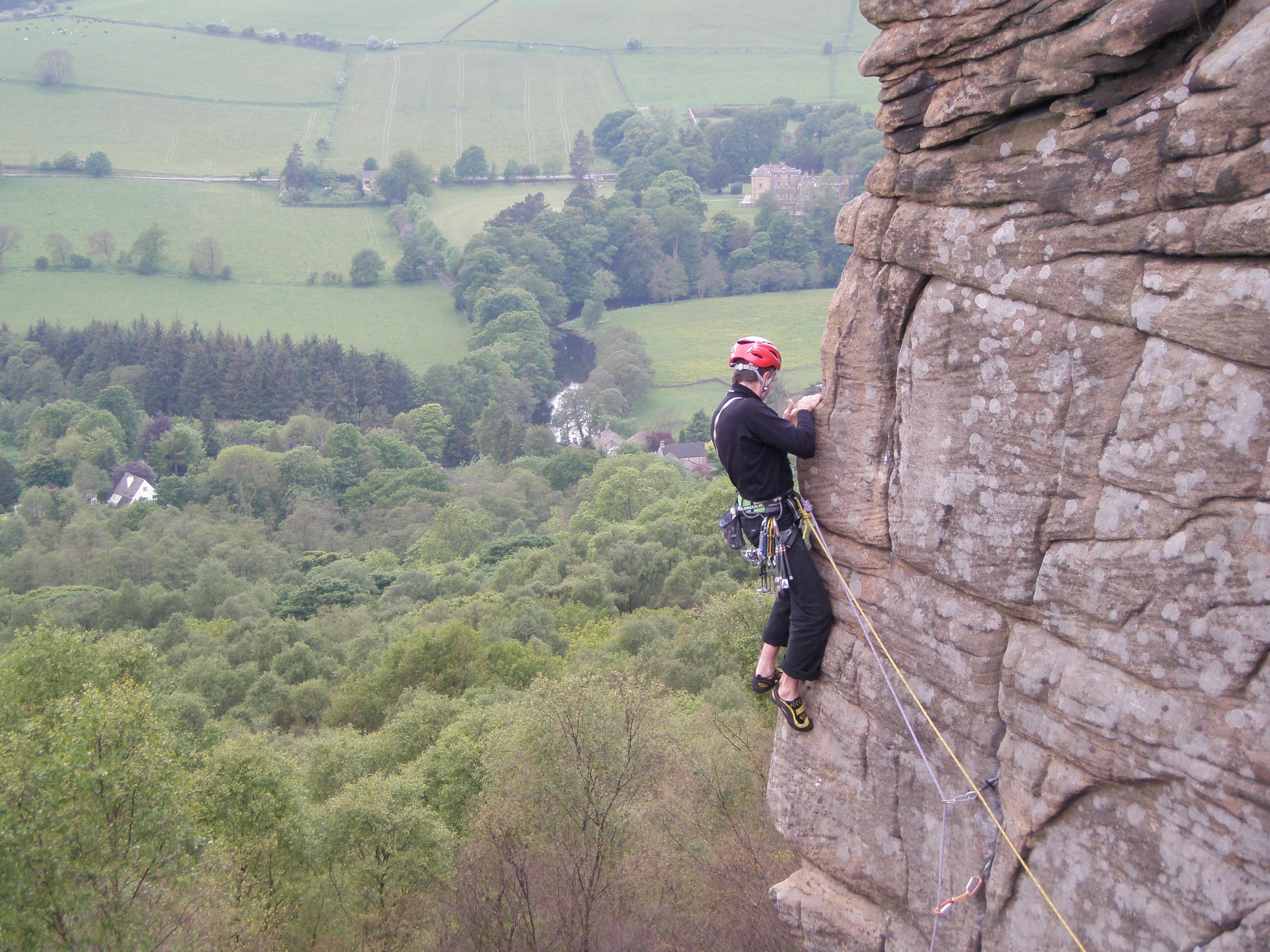 Trad klimmen in de Peak District